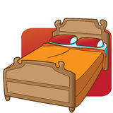 Simple Bed. Bed with two pillows and and orange comforter stock illustration