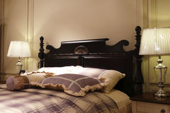 The double bed of carve patterns or designs on woodwork Stock Photo