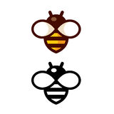 Simple Bee Logo. Cartoon bee logo design in color and black and white. Simple and cute outline icon vector illustration