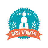 Simple Best Worker Banner Tag Stock Photography