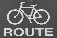 A Simple Bike Route Sign.  Royalty Free Stock Photo