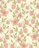 Simple bindweed flowers. Seamless floral pattern with vintage simple bindweed flowers Stock Photo