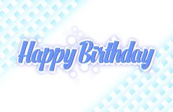 Simple birthday greeting card in a blue colour stock illustration