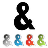 Simple black ampersand symbol and grey, blue, red, green stickers with sign of &. Royalty Free Stock Photos