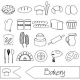 Simple black bakery items outline icons set Royalty Free Stock Photography