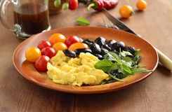 Simple Black Beans With Scrambled Eggs And Vegetables Royalty Free Stock Images