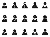 Simple black businessman avatar icons set Stock Photography