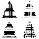 Simple Black Christmas Tree Icon Set Stock Images