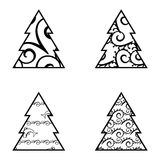 Simple Black Christmas Tree Icon Set Royalty Free Stock Photos