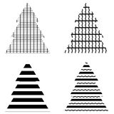 Simple Black Christmas Tree Icon Set Stock Photos
