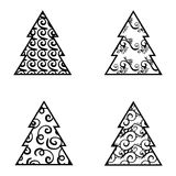 Simple Black Christmas Tree Icon Set Royalty Free Stock Image