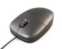 Simple black computer mouse closeup on white background. 3d. Stock Photography
