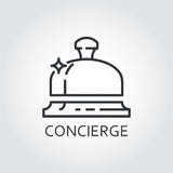 Simple black icon of bell concierge drawn in outline style Stock Images