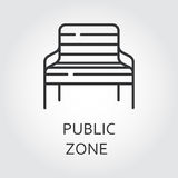 Simple black icon of bench. Public zone symbol. For parks, public places, squares. Label drawn in outline style. Simple line logo for button desing, websites or Stock Photos