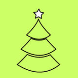 Simple black icon with the image of the contour of the Christmas. Tree on the green background. Fashion illustration in a flat style Stock Images