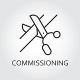 Simple black icon of scissors cutting the tape. Commissioning concept Royalty Free Stock Photos