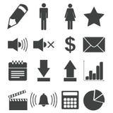 Simple black icon set 7 Stock Photos