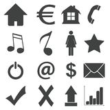 Simple black icon set 4 Royalty Free Stock Image