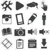 Simple black icon set 3 Stock Images