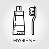 Simple black icon of toothpaste and brush in outline style royalty free illustration