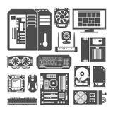 Simple black icons. PC components. Simple black icons set. PC components. Computer store. Assembling a Desktop Computer Stock Photos