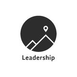 Simple black leadership icon with pin. Concept of travel, mountaineering, mission, climb, summit, hiking.  on white background. flat style trend modern brand Royalty Free Stock Photography