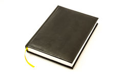 Simple black leather memo pad for note with yellow Stock Image