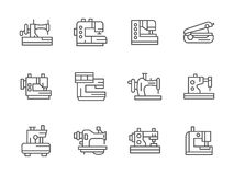 Simple black line sewing equipment icons Royalty Free Stock Photos