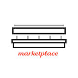 Simple black marketplace sign Royalty Free Stock Images