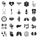 Simple black medical icon set on white. Simply black style medical icon set on white Stock Illustration