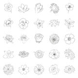 Simple black outline flower icon set. Isolated on white background. Elements for company logos, print products, page and web decor. Vector illustration Stock Photos
