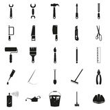 Simple black set of tools  icons. Simple set of tools related  icons on white Stock Image