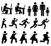Simple black silhouettes - pictogram. People at work, family, running people - pictograms. Simple black silhouettes isolated on a white background Royalty Free Stock Photography
