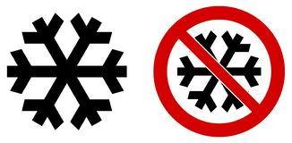 Simple black snowflake icon meaning winter / cold / freeze. Also version in red circle means. `do not refrigerate vector illustration