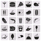 Simple black style Food Icon Set. Elements for company logos, print products, page and web decor. Vector illustration Stock Photography