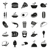 Simple black style Food Icon Set. Elements for company logos, print products, page and web decor. Vector illustration royalty free stock photo