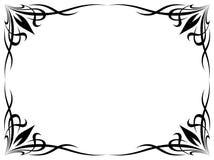 Simple black tattoo ornamental decorative frame stock illustration
