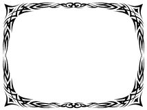 Simple black tattoo ornamental decorative frame Royalty Free Stock Photo