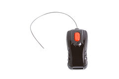 Simple black toy remote control with a red button. And antenna Stock Photos