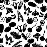 Simple black vegetables icons seamless pattern Stock Image