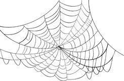 Simple black web illustration. Illustration with spider web isolated on white background Royalty Free Stock Images