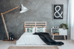 Simple black and white bedroom Stock Image