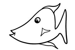 Simple Black and White Cartoon Fish Illustration. This is a simple black and white cartoon fish illustration that was hand drawn. Great to use as is or color to Stock Images