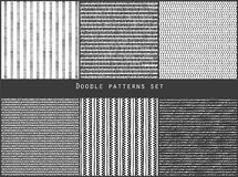 Simple black and white doodle strokes dots and triangles geometric striped seamless patterns set, vector. Background Stock Images