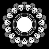 Simple black and white ethnic round frame with skulls Stock Photo