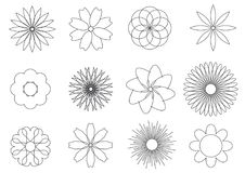 Simple black and white flowers icons set royalty free illustration