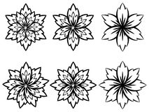 Simple Black and White Flowers vector illustration