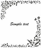 Simple black and white frame. With flowers and butterflies Royalty Free Stock Photography