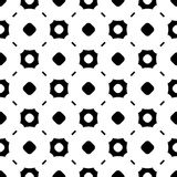 Simple black and white geometric seamless pattern. Vector monochrome seamless pattern, abstract endless background. Black & white illustration with simple Stock Photo