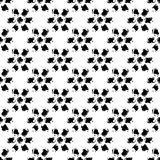 Simple black and white grunge hand drawn flowers seamless pattern, vector Stock Images